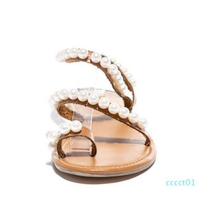 Women Sandals Summer Shoes Flat Pearl Sandals Comfortable String Bead Slippers Women Casual Plus Size 35 - 43 ct1