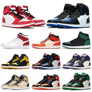 Nike Air Jordan retro 1 Marque og 1 New Love Hommes - Baskets Top3 - Pine Court - Vert - Chaussures de basket - balles caméléon - Bout noir Ville de vol - Baskets de marque