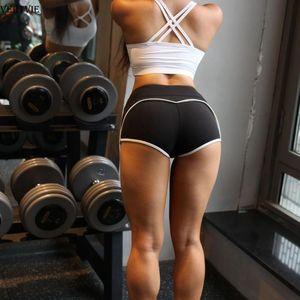 VERTVIE Women Yoga Shorts Side Striped Raise Biker Shorts Gym Push Up Tight Leggings Running Fitness Sports