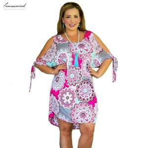 Sommer-Frauen Kleider Plus Size-Verband-Kleid reizvolles weg vom Schulter-O-Ansatz-Kleid Große Größen-beiläufige Xl 6XL Designerkleidung