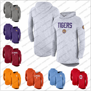 NCAA Men LSU Tigers 2019 Sideline manches longues à capuche Performance Top Violet Blanc Gris Taille S-3XL