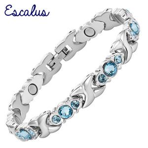 Escalus 24 Ein Kristall Blau Magnetismus Armband Weibliches Geschlecht Silber Verwenden Edelstahl Gliederkette Neue Armband Schmuck Geschenk Y19062901