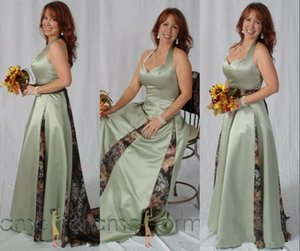 Sage Camo Long Bridesmaid Dresses 2020 Halter Satin Ruched A Line Full Length Plus Size Wedding Guest Maid Of Honor Evening Gowns