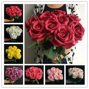 Rose PU 11pcs tocco reale della Rosa fiori artificiali Buone Roses in lattice di qualità per la festa nuziale Tabella Centrotavola Fiore decorativo