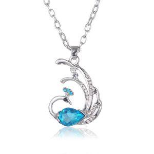 Bonito fogo Phoenix colar pavão de cristal austríaco lindamente colar de pingente de cristal colares camisola longa mulheres jóias de luxo