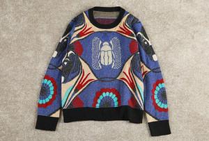 Milán Pista suéter de cuello de O Carta de manga larga impresión de diseñador de las mujeres del suéter de gama alta de rayas jacquard suéter suéter envío libre