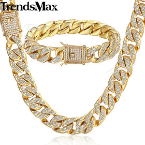 Damen Herren Schmuck Set Gold Miami Curb Cuban Link Kette Halskette Armband Sets für Männer Iced Out Hip Hop Schmuck 14mm KGS262