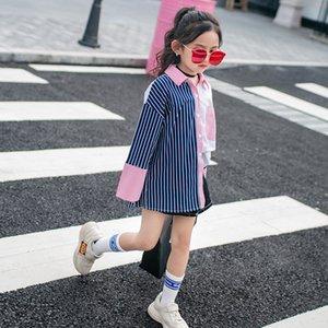 Girls School Blouses Cotton Spring 2019 Children Clothing Irregular Striped Shirt Girls Clothes for 12 Years Tee Shirt Enfant