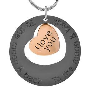 IJD9447 Joyas de incineración de acero inoxidable I Love You to The Moon and Back Colgante de corazón para el collar de recuerdo de cenizas conmemorativas de urna
