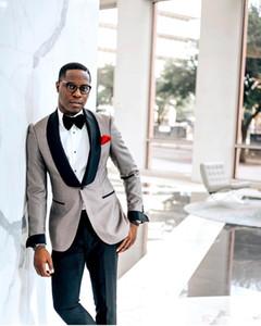 Fashion Wedding Tuxedos Herren Blazer Anzüge Formale Maßgeschneiderte Schwarzer Schal Revers One Button Beste GroomMen Hochzeitsanzüge (Blazer + Pants) SU0060