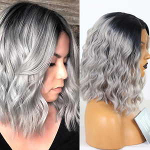 Ombre Grey Lace Front Wigs for Women Synthetic Short Wavy Wigs Heat Resistant Fiber Natural Looking Full Density