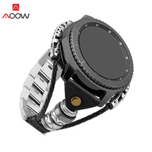 Braided Leather Bangle Band for Samsung Galaxy Watch 46mm Gear S3 Fashion Stainless Steel Link Replace Bracelet Watchband Strap CJ191225