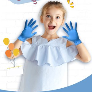 In Stock Children Kids Gloves Protective Safety 20pcs Disposable Nitrile Multipurpose Work Gloves Non-slip Painting Cleaning Home