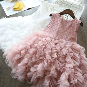 2020 Summer Girls Robe sans manches princesse filles bébé dentelle Mesh couche gâteau robe