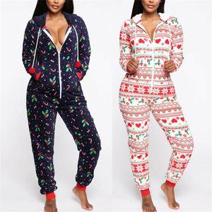 Natal Jumpsuit da Mulher Auutmn Inverno Quente manga comprida Pijamas Impresso Pijamas Xmas com capuz Roupa de Noite Macacão Pijamas 2020