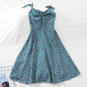Summer Small Floral First Love Gentle Dress Lace Up High Waist Was Thin In The Long Suspender Dress Ladies Mid-length