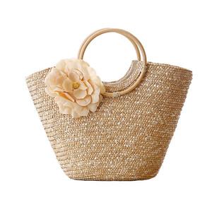 Bolso de paja para mujer Tejido de flores Summer Beach Messenger Tote Bag Basket Shopper Purse