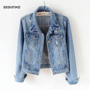 Sedutmo 2018 Plus Size 5xl Denim Jacket Women Boyfriend Jean Coat Streetwear Harajuku Vintage Autumn Basic Outerwear Ed198 T190817