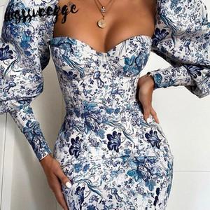 lessverge Çiçek bağbozumu mavi BODYCON elbise Puff kollu, mini sonbahar kış elbise çince Kadınlar parti gece şık elbiseler MX200319 yazdırmak