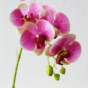 toque real 5Heads látex orquídeas rama de flores artificiales flores Orquídea mariposa de Navidad de la boda de las viviendas caen Decoración