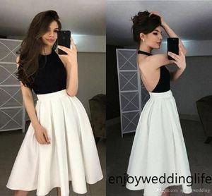 Blanco y Negro Vestidos de fiesta cortos 2020 una línea cabestro cuello longitud de la rodilla sin respaldo Homecoming Prom Vestidos de cóctel barato 2293
