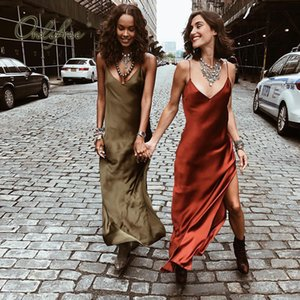 Ordifree 2019 Summer Women Long Silk Dress Spaghetti Strap Loose Split Sexy Maxi Satin Slip Dress MX200518