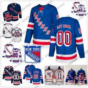 Personalizados New York Rangers 10 Artemi Panarin Jersey Cualquier Número Nombre hombres mujeres jóvenes niño Azul marino Tercer blanca Kreider Lundqvist Kakko Skjei