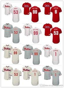 coutume hommes femmes jeunes Jersey # 1 Phillies de Philadelphie Richie Ashburn 99 Mitch Williams 53 Joaquin Benoit 6 Ryan Howard Baseball Jersey
