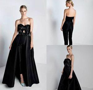 2019 новые черные комбинезоны платья выпускного вечера с съемным поездом с бантом милая знаменитости вечерние платья женские брюки