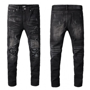 venda quente New Mens Distressed rasgado Biker Jeans Slim Fit Motociclista Denim For Men Moda Hip Hop Jeans Mens Boa Qualidade