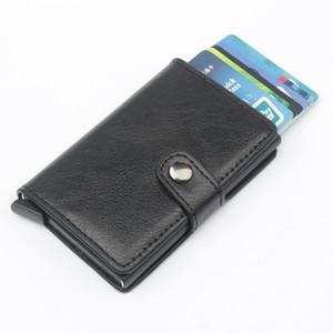 Caso titolare Bank 2020 nuova carta di credito del supporto del raccoglitore Borsa in pelle di alluminio Crazy Horse PU Uomini Donne metallo RFID Vintage