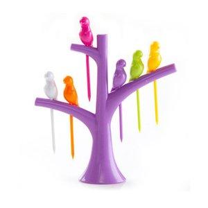 Gadget Bird Tree Birdie Obstgabel 1 Stand + 6 Gabeln Zahnstocher Obst Werkzeug Cute Cartoon Party Gabel Küchenaccessoires
