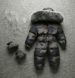 2018 Inverno New Baby Boy Bambino Ragazza Pagliaccetti Inverno Snowsuits Grande Pelliccia di alta qualità Tenere caldo Design per bambini su tute