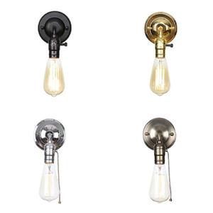 120v 230v çekin zincir anahtarı led duvar bağbozumu demir yatak odası duvarı lambası başucu Lampen merdiven wandlamp Retro Krom loft tarzı ışıkları çörekler