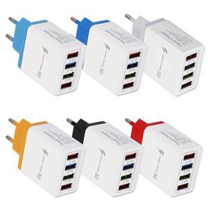 50pcs USB Wall Charger QC 3.0 Quick Charge 4 ports US EU Plug Fast Charging 3.1A Cellphone Adaptor