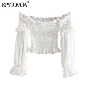 KPYTOMOA Frauen 2020 Sexy Fashion Smocked Elastische Rüschen Cropped Blusen Vintage Slash Neck Langarm Weibliche Shirts Chic Tops