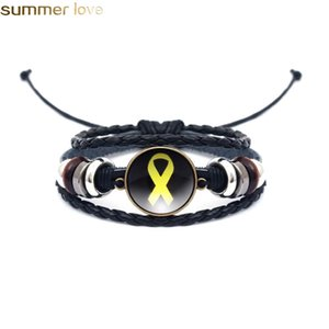 New Fashion Black Multi Layer Leather Bracelet Yellow Ribbon Glass Cabochon Buckle Punk Weave Bracelets Jewelry Gifts For Family Friends