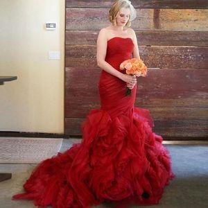 Chleming Red Mermaid Wedding Dlese with Pleats Organza 스커트 Cournt Train Made Custom 주문 제작 Vestido De Novia