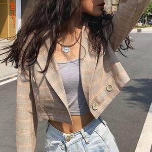 Cultivos Mnealways18 tela escocesa de la vendimia Blazers blusa de las mujeres de color caqui de manga larga Tops Primavera botón de verificación camisa de las señoras elegantes 2020 Streetwear