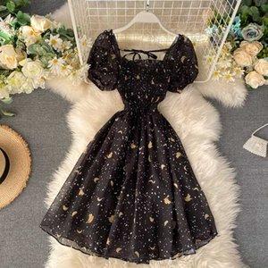 Vestido de manga de soplo negro Vintage vestido Floral Kawaii lindo vestidos de verano fiesta Retro cuello cuadrado ropa 2020 Banana estampado bata