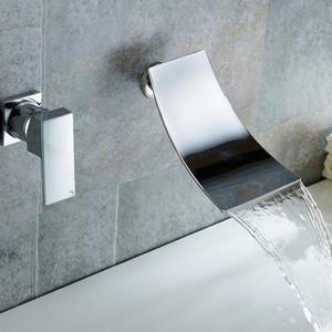 Смеситель для ванны Хром / Черная латунь Настенное крепление Водопад Смеситель для ванной комнаты Большой квадратный излив Однорычажный смеситель для раковины Смеситель для воды
