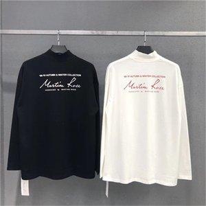Бленд мужских дизайнер футболка письмо Вышивка Street Style Сыпучей Прохладная длинный рукав высокого воротник пуловер футболка Мода Пара тройники