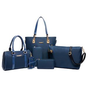 6PCS / SET PU cuir femmes Sacs à main épaule sac à bandoulière bourse Portefeuille femmes Enveloppe Messenger Sacs Femme Sac Composite