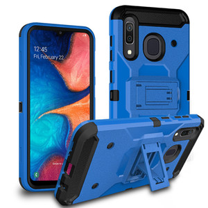 For Oneplus 6T Defender Shockproof Protections With kickstand Tough Armor Metallic leather Rugged Phone Case Cover
