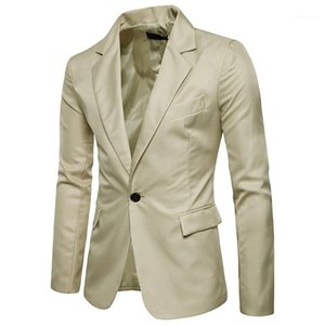 Long Sleeve Lapel Neck Mens Outerwears Casual Cardigan Male Clothing Slim Mens Blazers Single Breasted Solid Color