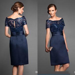 빈티지 저렴한 해군 파란색 짧은 어머니의 신부 드레스 스쿠프 레이스 무릎 길이 지퍼 백 웨딩 게스트 드레스 플러스 사이즈 어머니 가운