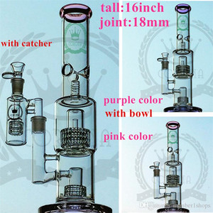 "Hitman New design double recycler bong 16"" inches Two functions water pipe hot sell oil rig pink purple colorfull dabglass pipe"
