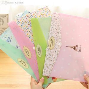 Wholesale-4 pcs / lot الكورية القرطاسية الصغيرة الطازجة A4 ملف مجلد لطيف برج وثيقة حقيبة اللوازم المدرسية مكتب canetas اجتماعيون
