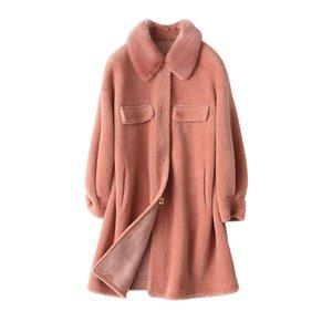 Outono Inverno Casaco de lã Mulheres Roupa 2,019 real casaco de pele Collar Wool Jacket coreano Suede Lining Abrigo Mujer 868672