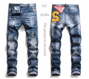 Jean Nakış Pantolon deliklere rozetleri Jeans Fermuar Mendsq2 Pantolon Pantolon kot 6w5dafc26 # jeansds2men sıska simgesi 2020 het D2 Erkek Denim